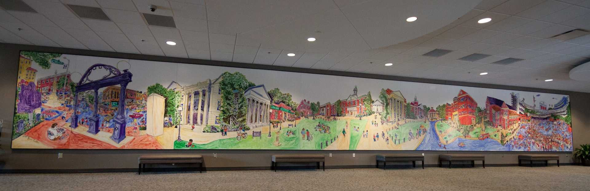 North Campus (Tate) Mural    Started in 2008, Completed in 2009    64 feet long by 8 feet tall    Mixed Media: Ink, watercolor, and acrylic on birch panel    Located in the UGA Tate Student Center, 45 Baxter St, Athens, GA    Photo credit: Robert Lowery