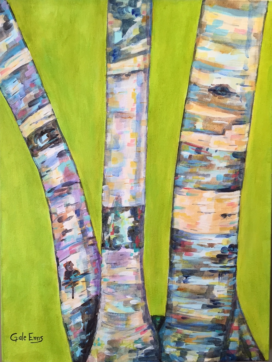"Three Birches  acrylic on canvas 18"" X 24"""