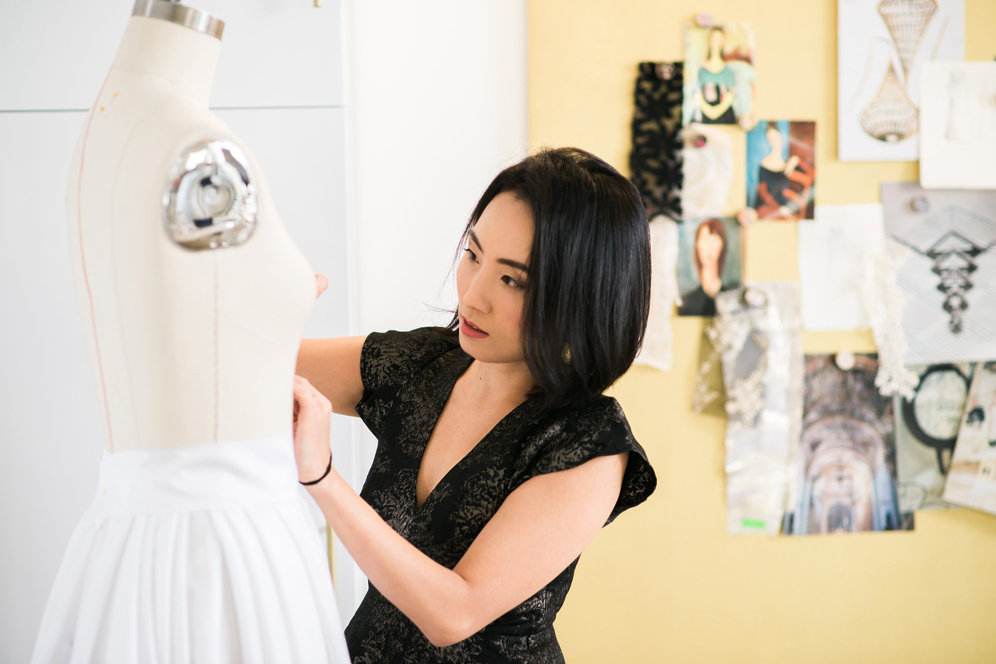 Angela Kim of Asheville Couture creating a wedding dress design | Photography by Sarah Hooker Photography