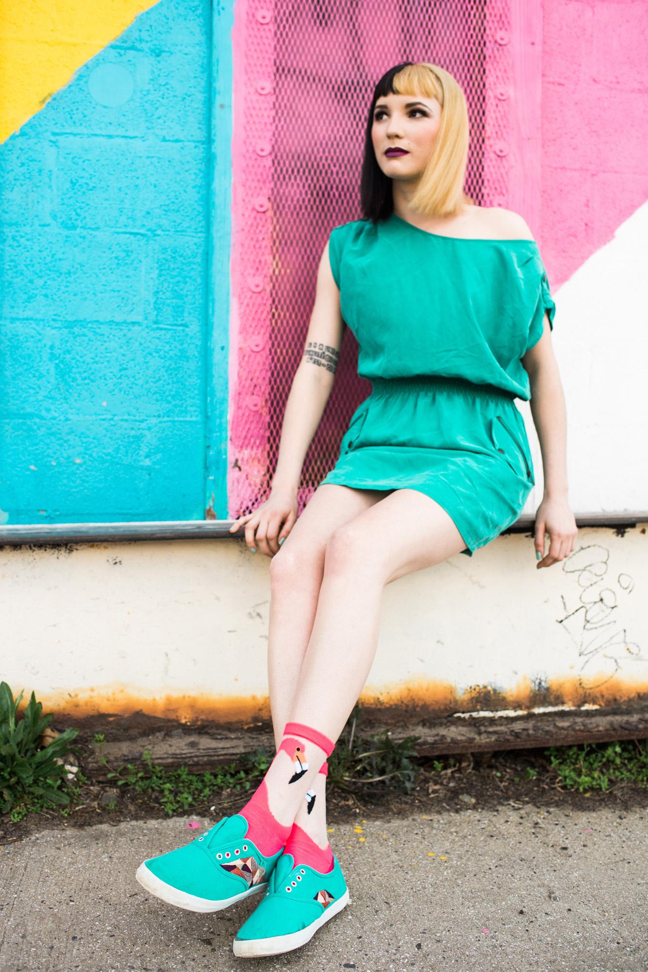 Sarah Hooker Photography | Flamingo Socks, Color Fanatic: Play Every Day, Model Gabriela MacArdle, MUA Tia Hixon, Asheville NC