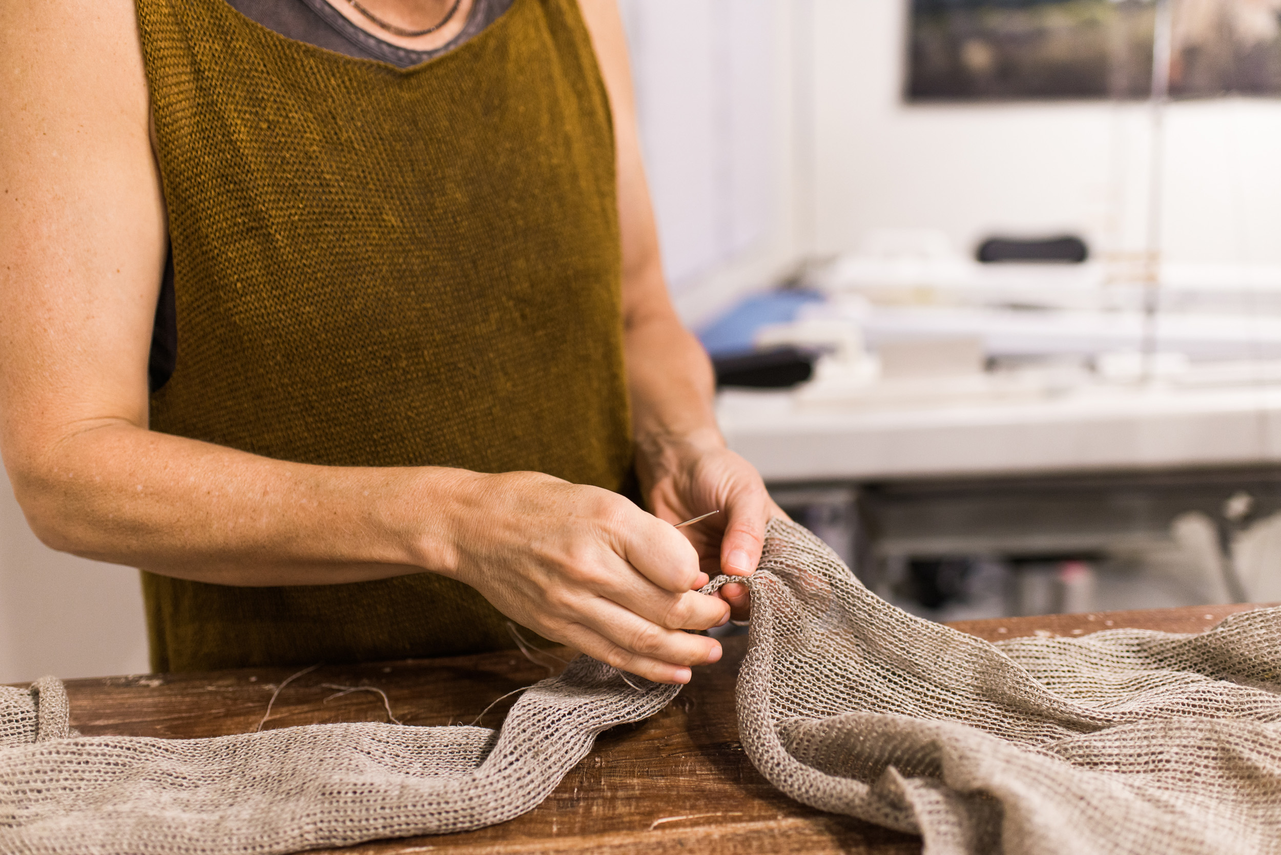 Sewing Sleeves, Business Branding Photography for Cara May Knits by Sarah Hooker Photography