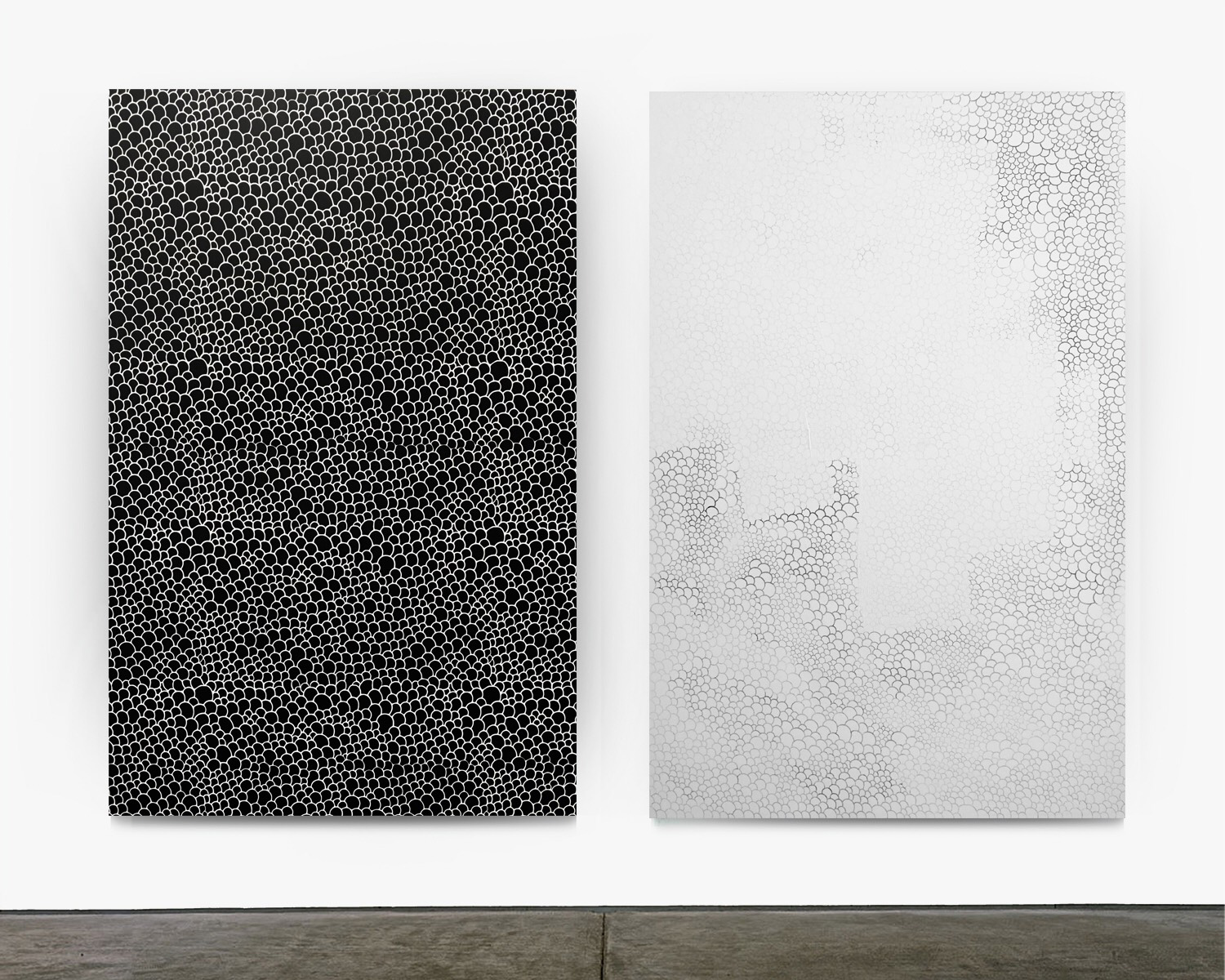 Untitled (Scales) Diptych 2017 enamel, gesso and silkscreen on canvas 72 x 48 inches each