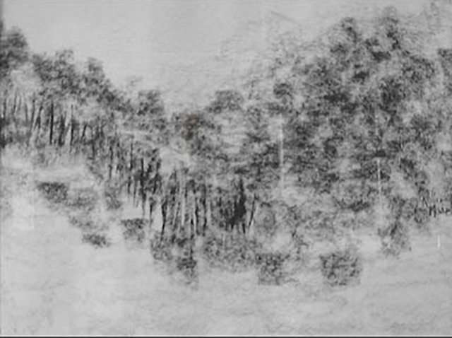 Looking North 107cm x 87cm Charcoal on Paper NFS