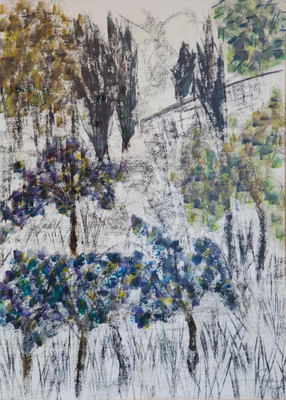 Tuscan Hillside 87cm x 107cm Charcoal on Paper NFS