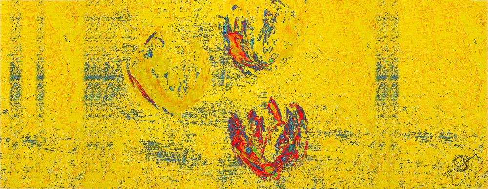 'FLOATING TULIPS', PURE GOLD, VELVET, 180X65CM