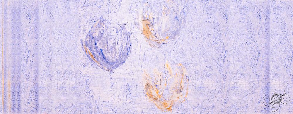 'FLOATING TULIPS', SOFT LILAC, VELVET, 180X65CM