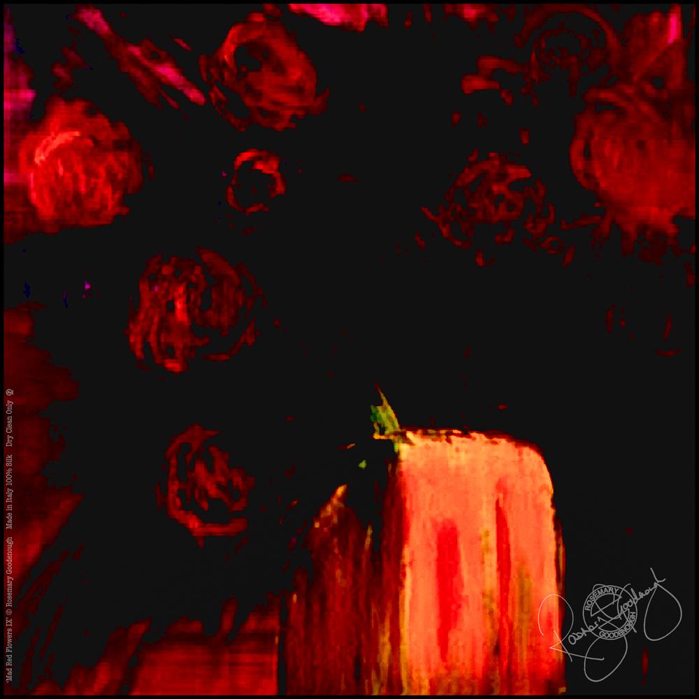 'MAD RED FLOWERS IX' SILK TWILL SCARF