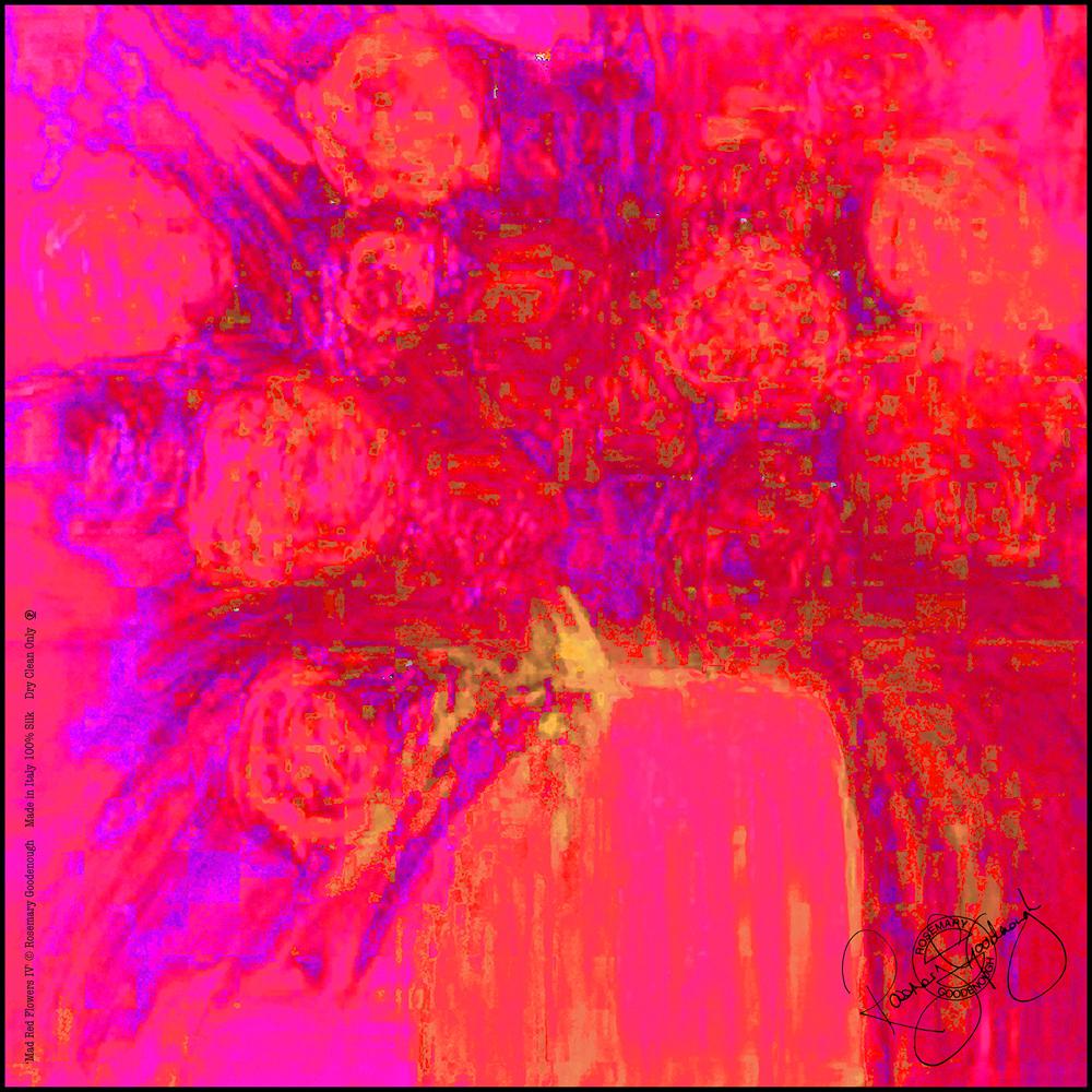 'MAD RED FLOWERS IV' SILK TWILL SCARF