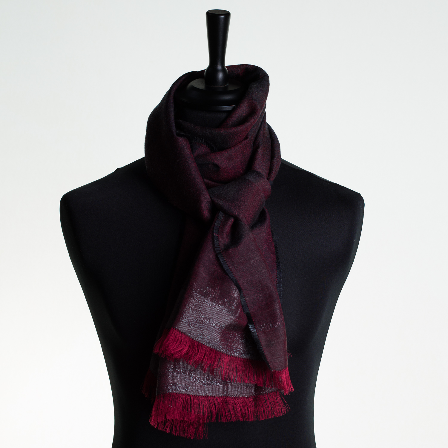 HOT CITY 'RED' LONG SILK AND CASHMERE SCARF