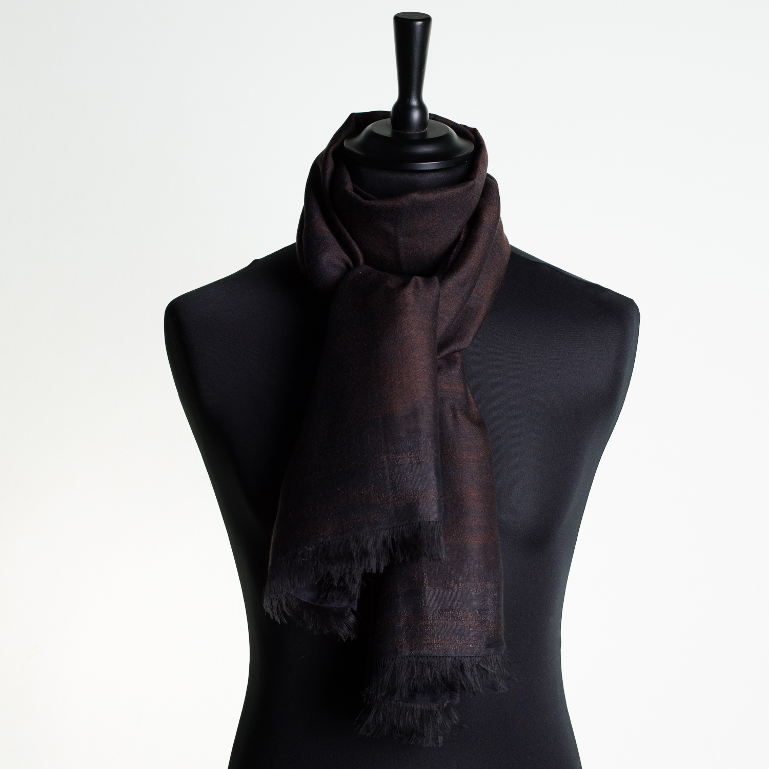 HOT CITY 'CONKER' LONG SILK AND CASHMERE SCARF