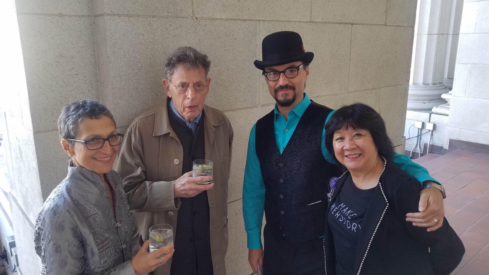 Laura Kaminsky, Philip Glass, Chris Pratorius Gómez, Debbie Chin. 2018 Opera Parallèle Gala, San Francisco.