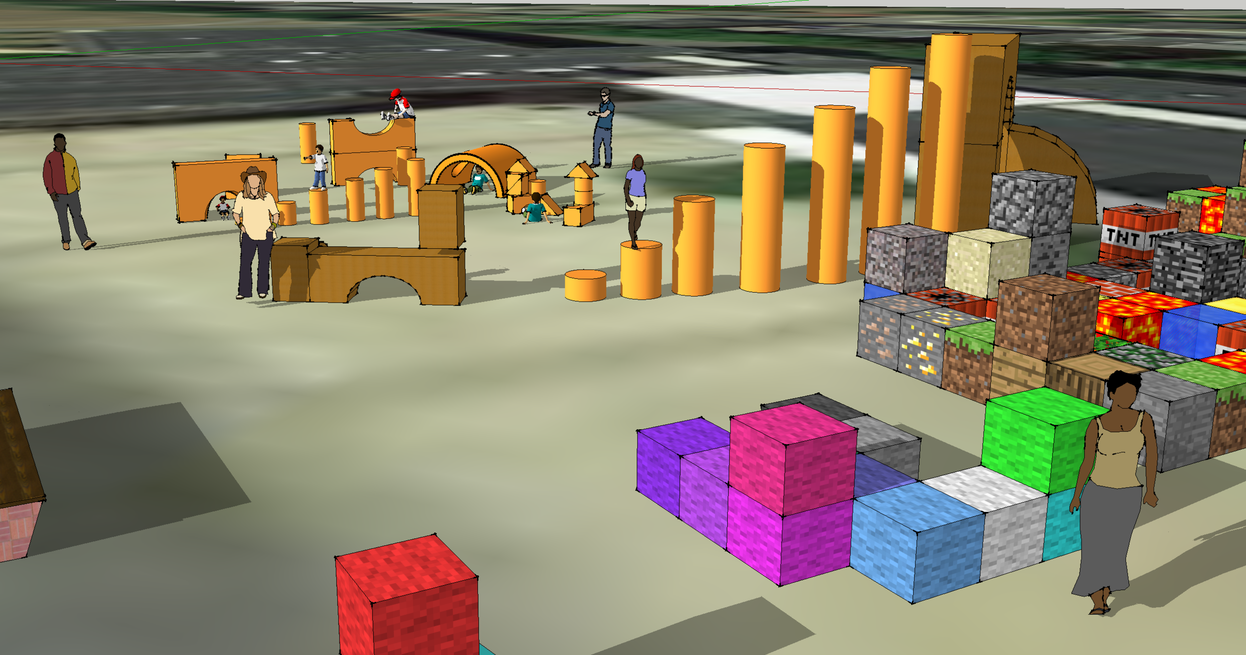 Minecraft-inspired blocks can be configured in multiple ways. Rendering by Alexandra Bowen