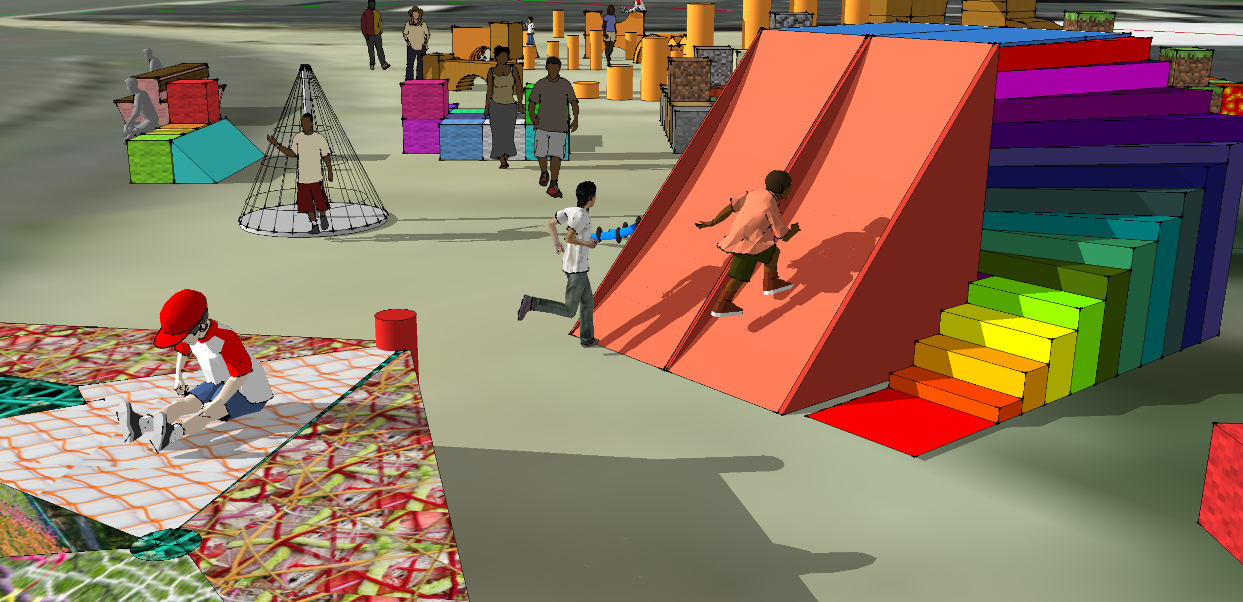 View of the Ninja Warrior Inspired Wall and Slide. Rendering by Alexandra Bowen.