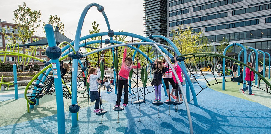 Thomas M. Menino Park (inclusive Playspace) Boston, MA by Landscape Structures Inc.