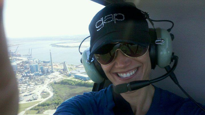 Me flying a helicopter over Charleston in 2011.