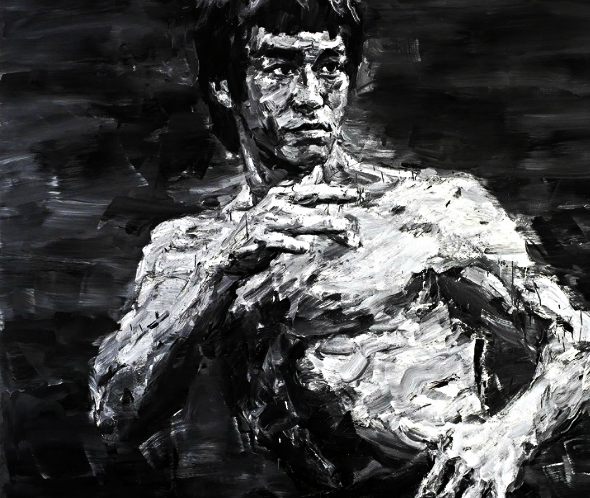"""Bruce Lee - Fighting Spirit signed """"YAN PEI-MING"""" (Chinese, B. 1960)in Pinyin (on reverse); signed in Chinese (on reverse); dated """"2012"""" (on reverse) oil on canvas 300 x 300.5 cm. (118 1/8 x 118 1/4 in.) Painted in 2012  Generously donated by M. YAN PEI-MING through the Société des Amis du Louvre (French Society of the Friends of the Louvre), the proceeds went to the Louvre Museum for the refurbishment of its 18th Century Decorative Arts Galleries.  Estimated ($520,000 - $770,000), it realized a price of $1,370,759 on May 25th, 2013 at Christie's."""