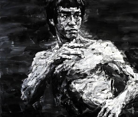 """Bruce Lee - Fighting Spirit signed """"YAN PEI-MING"""" (Chinese, B. 1960)in Pinyin (on reverse); signed in Chinese (on reverse); dated """"2012"""" (on reverse) oil on canvas 300 x 300.5 cm. (118 1/8 x 118 1/4 in.) Painted in 2012  Généreusement donné par Mr. YAN PEI-MING à la Société des Amis du Louvre, le résultat de la vente a été alloué au musée du Louvre pour sa Gallerie des Arts Décoratifs du XVIIIème siècle.  Estimé entre $520,000 et $770,000, le tableau a réalisé un prix de vente de $1,370,750 le 25 Mai 2013 chez Christie's."""