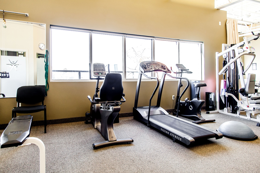We have an open exercise area with stationary bikes, a treadmill, a universal gym, balance and agility equipment and a variety of exercise gear to assist in achieving your rehabilitation goals.