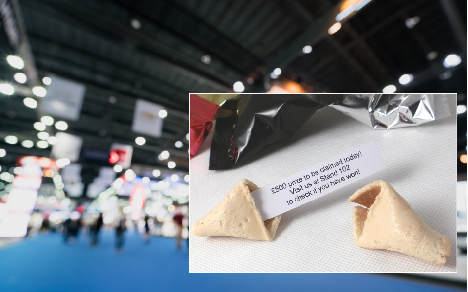Fortune cookies with your own messages inside are very popular with conference organisers and event companies. They enable companies to communicate their brand messages creatively while being sure they will be read and remembered!