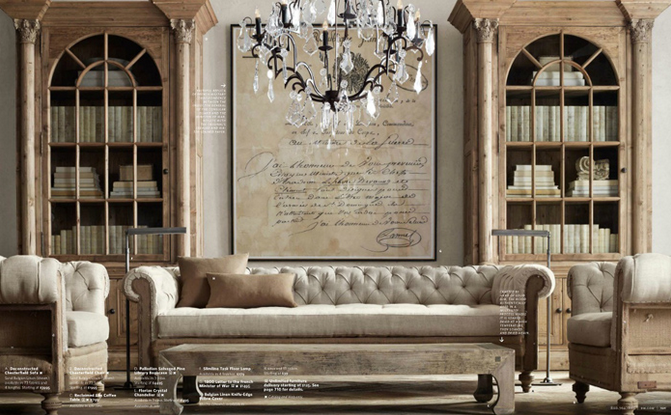 Restoration Hardware launches, packaging and promotion.