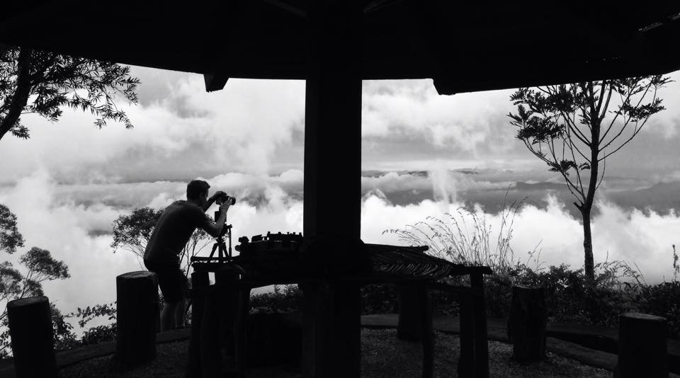 Shooting at time-lapse up amongst the clouds while following the race.
