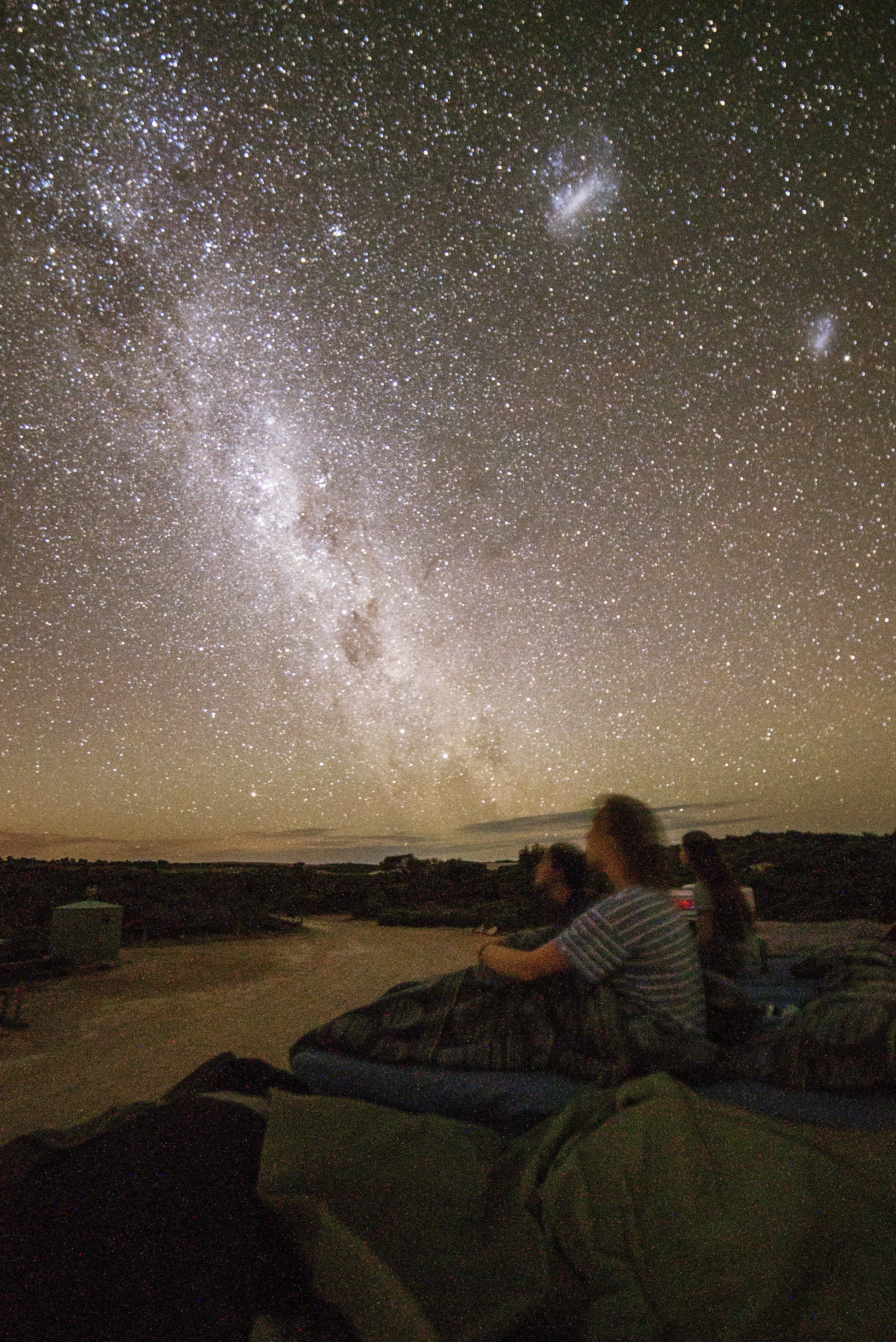 Roof-top stargazing. Sleeping on the roof near Elliston with Anne (Netherlands), Jamie & Tamara (Germany)