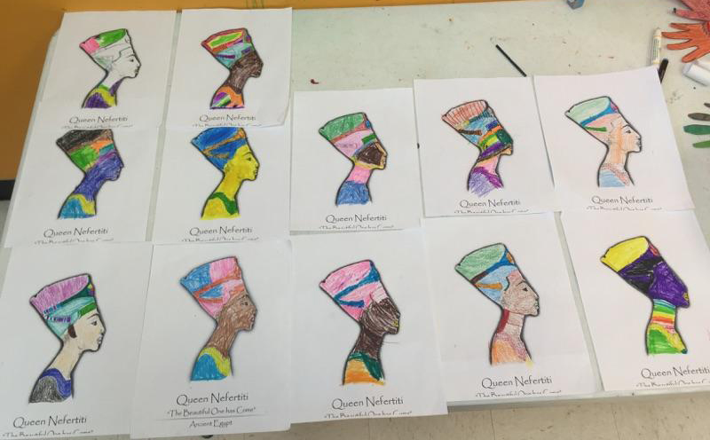The Elementary school group created their own depictions of Queen Nefertiti with The Gold Effect coloring pages.