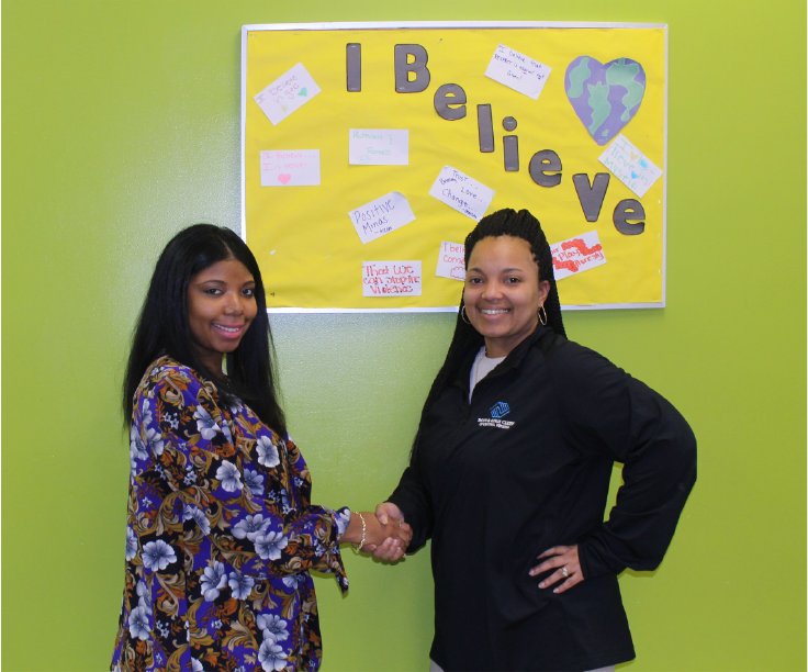 The Gold Effect General Partner, Ashanti Nixon, with Ms. Tasha Burgo, Boys & Girls Club Program Director.