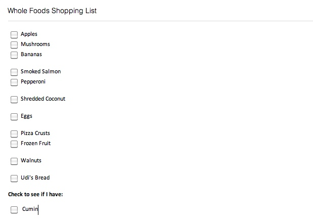 Grocery List in Evernote