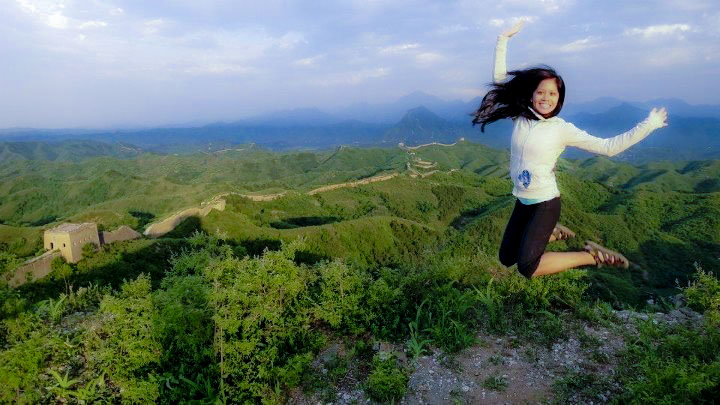 My cousin Jenna at the Great Wall in China
