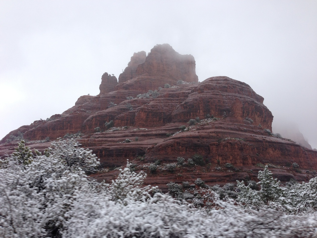 Fog and snow at Bell Rock