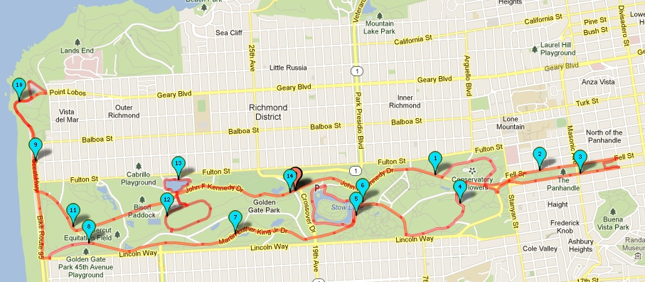 14-mile Route in Golden Gate Park