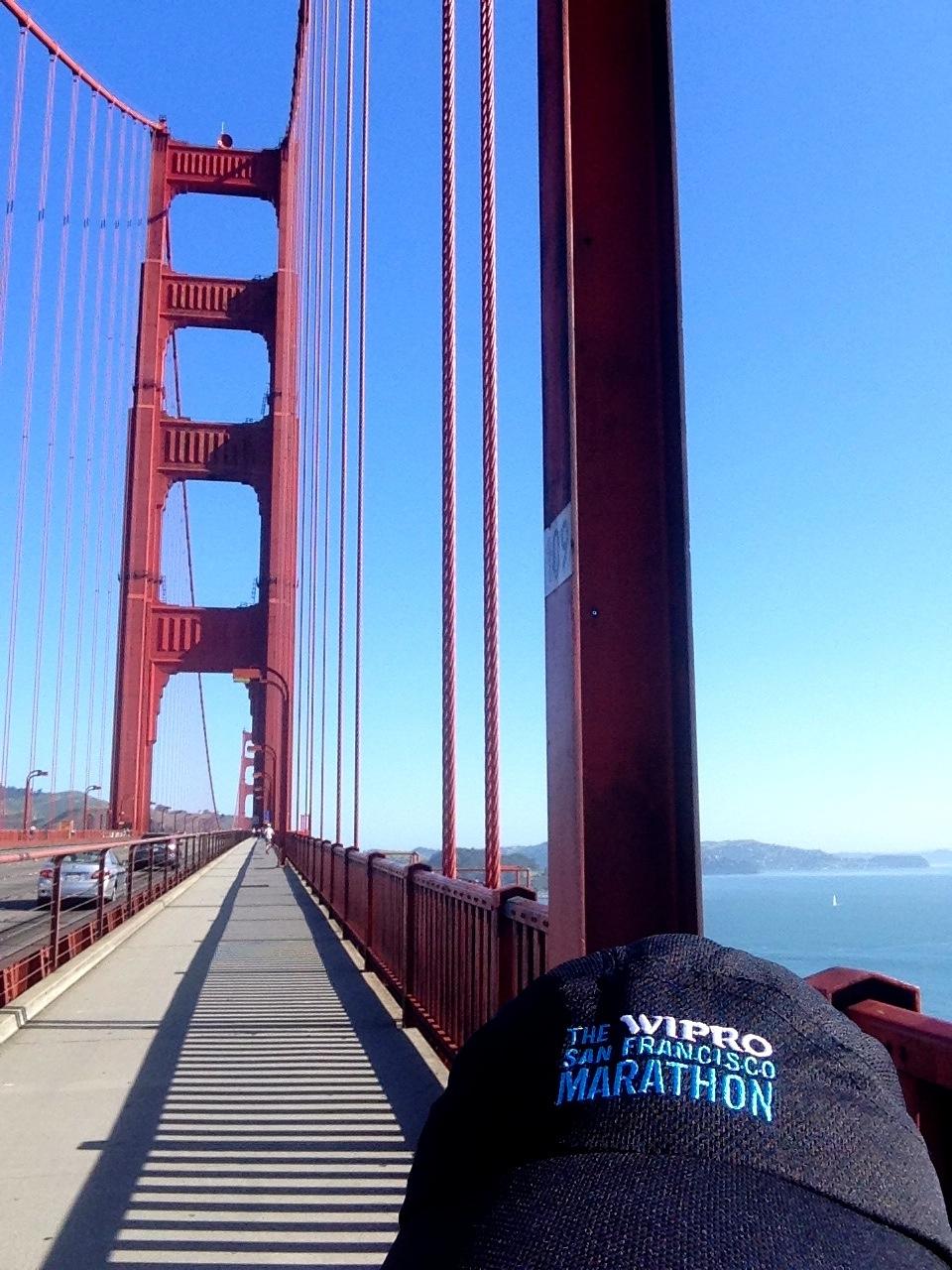 Sporting my new San Francisco Marathon hat on the GGB