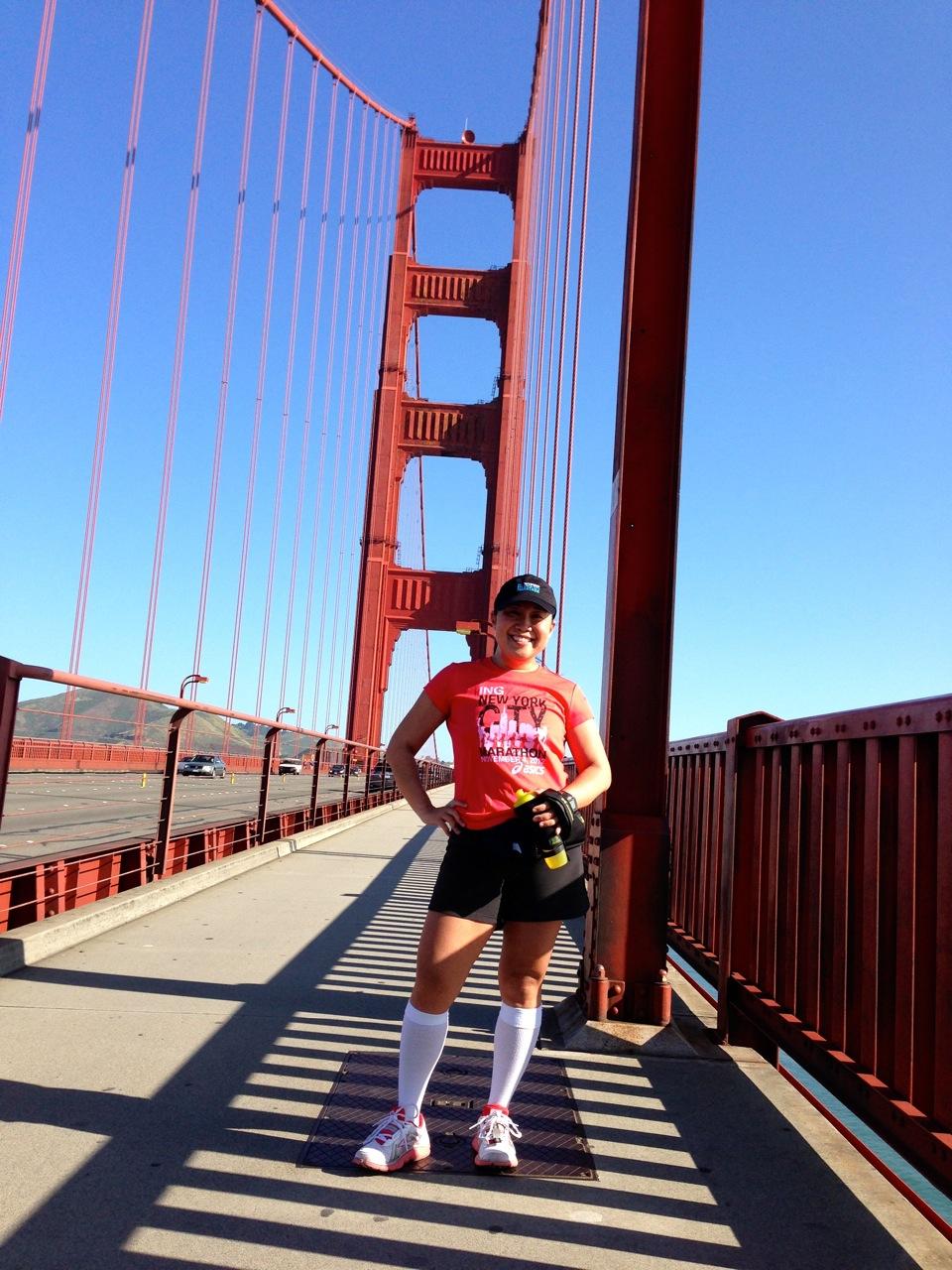 Running across the Golden Gate Bridge