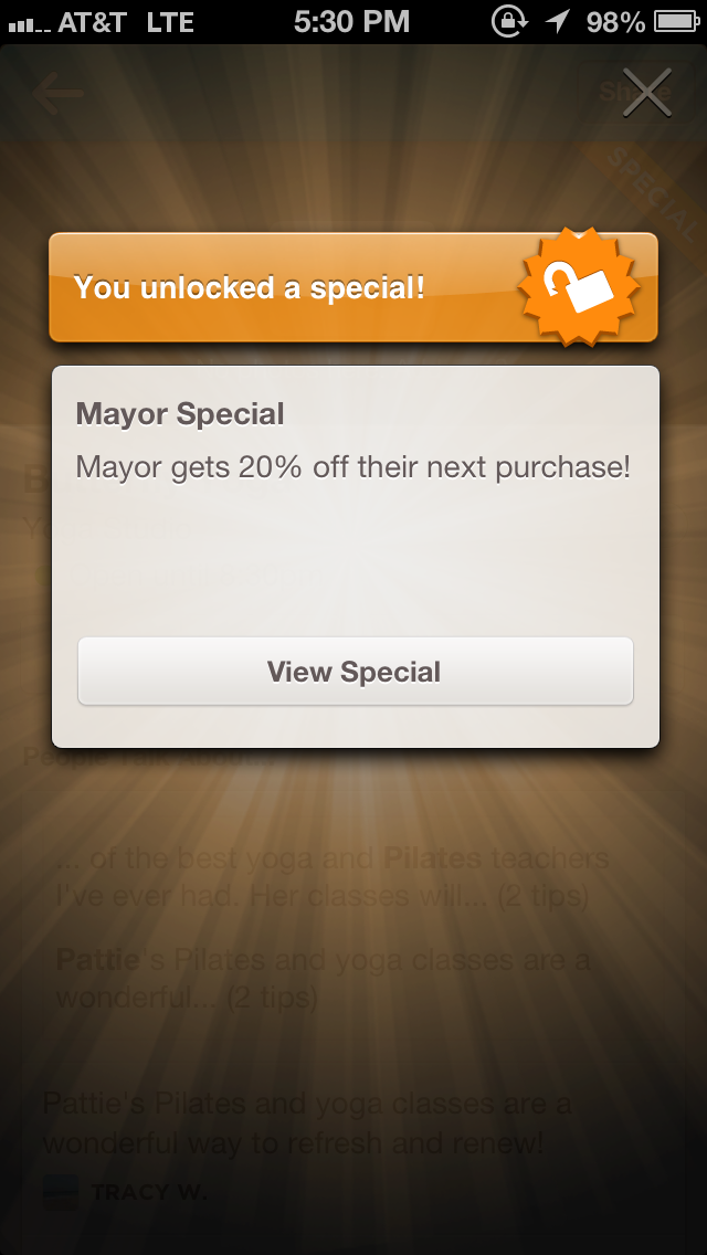 The 4sq Mayor payoff!