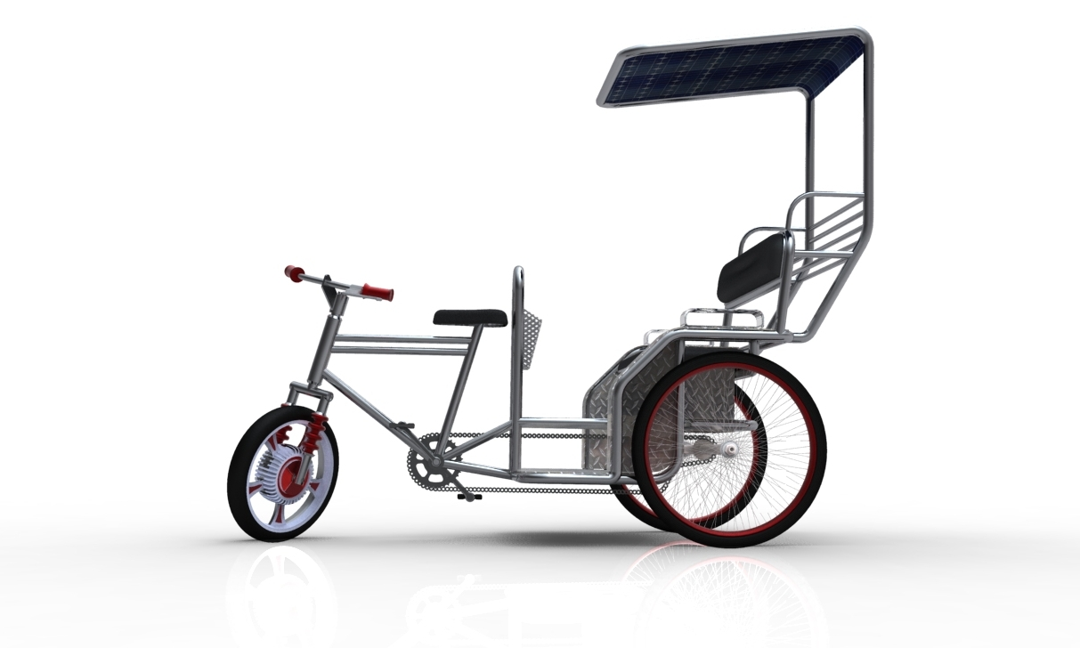 An open bicycle rickshaw