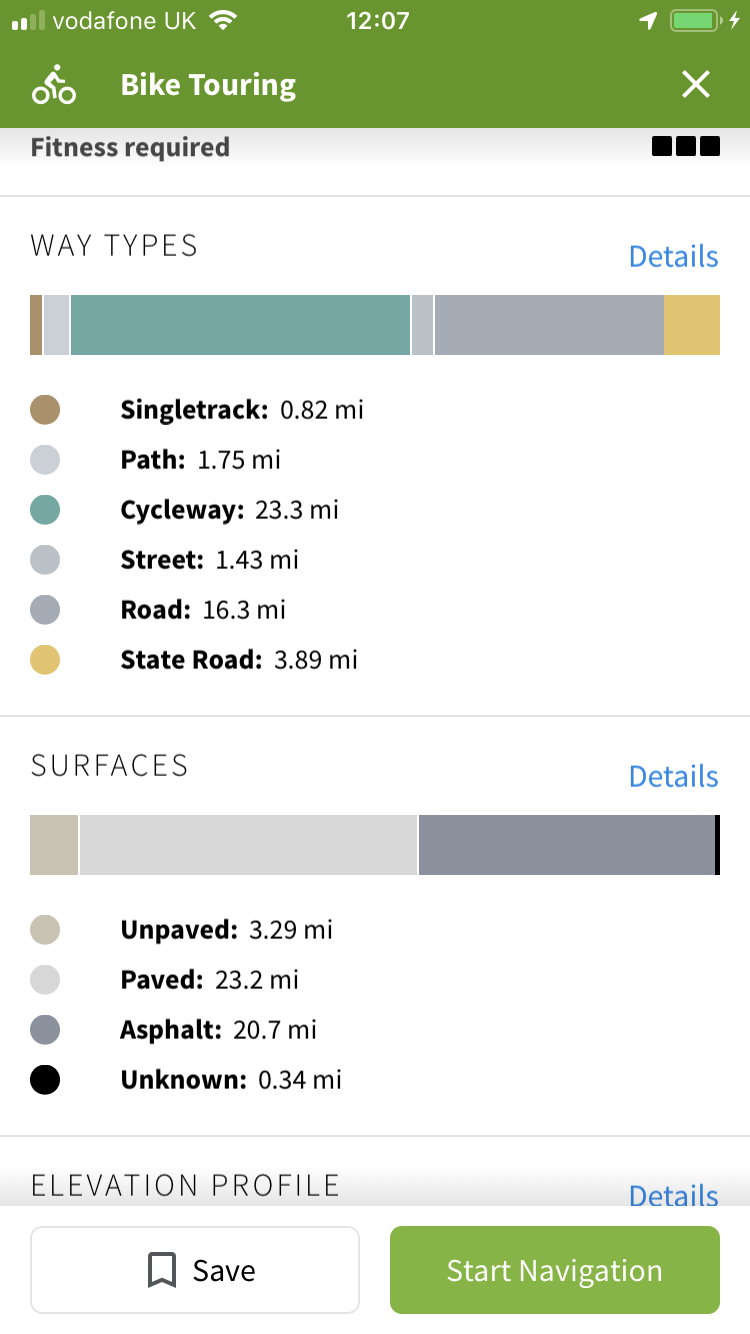 The Komoot route plan, showing way types and surfaces - thankfully, mostly paved and asphalt