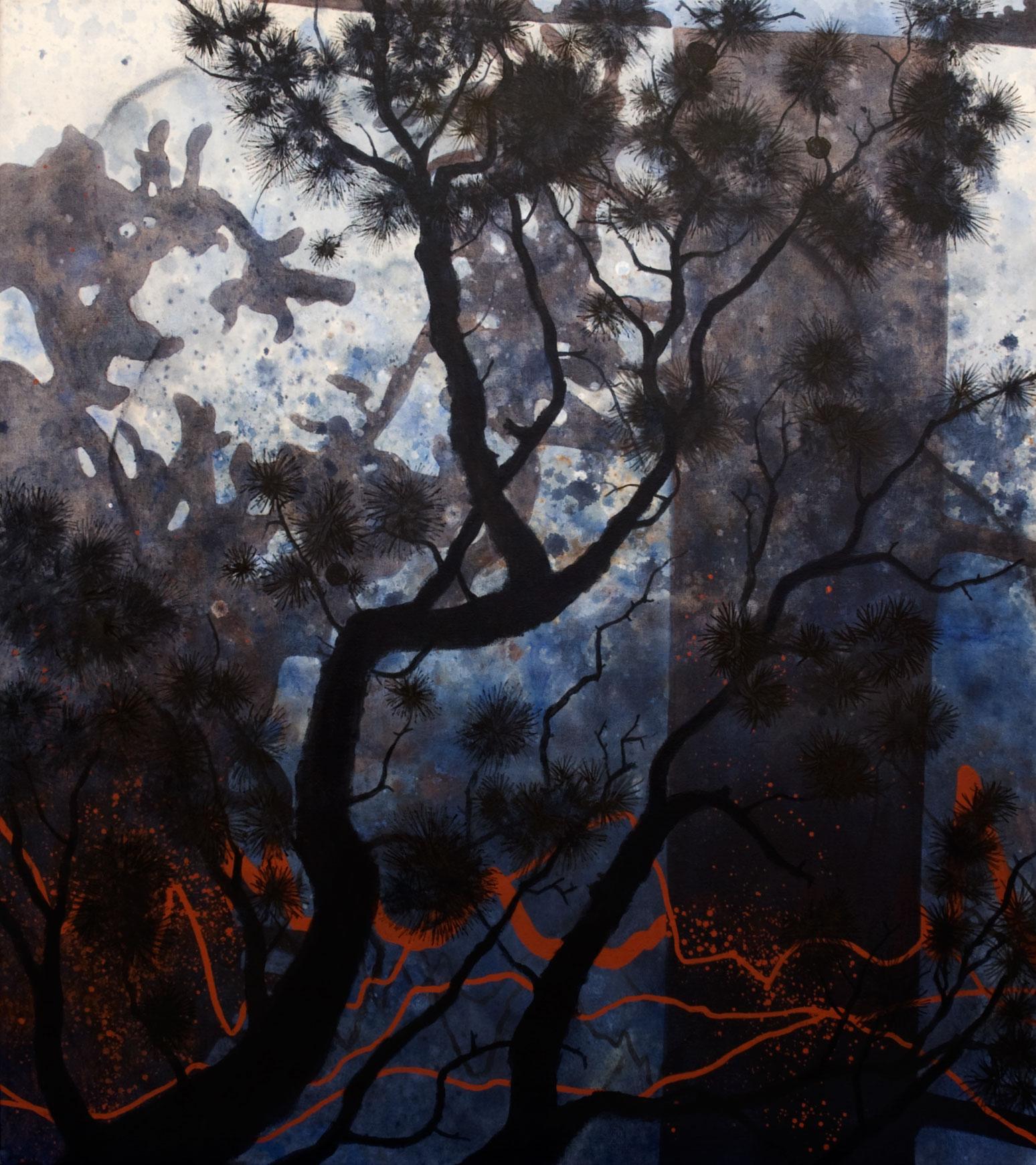 Forêt acrylique sur toile  102 x 91 cm