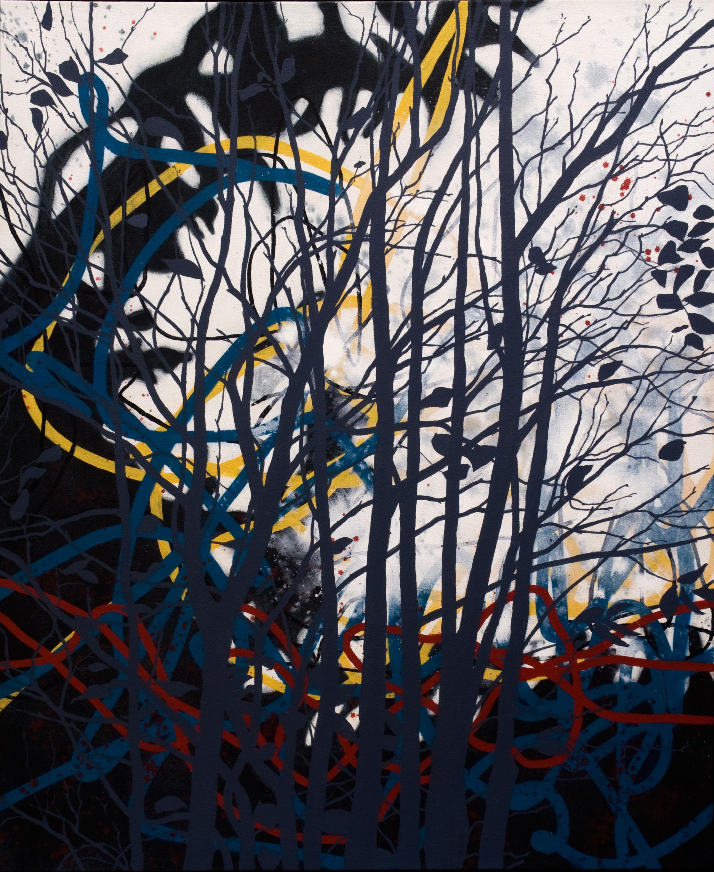 Tempête dans le parc  acrylique sur toile91 x 76 cm