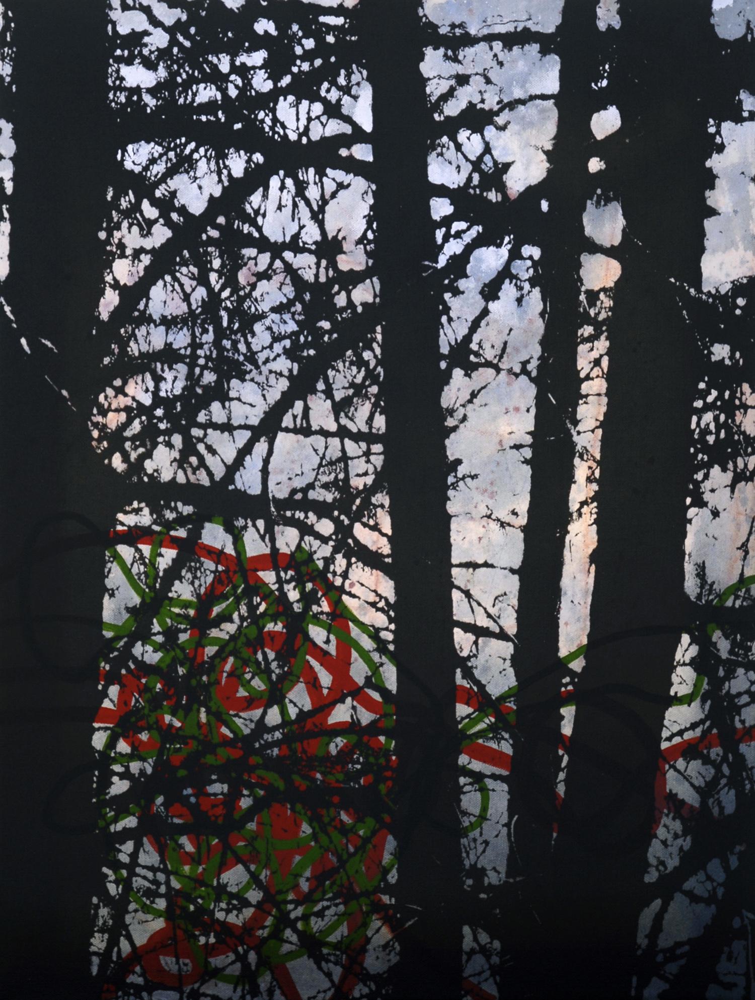 Forêt no 3  techniques mixtes sur toile  61 x 46 cm