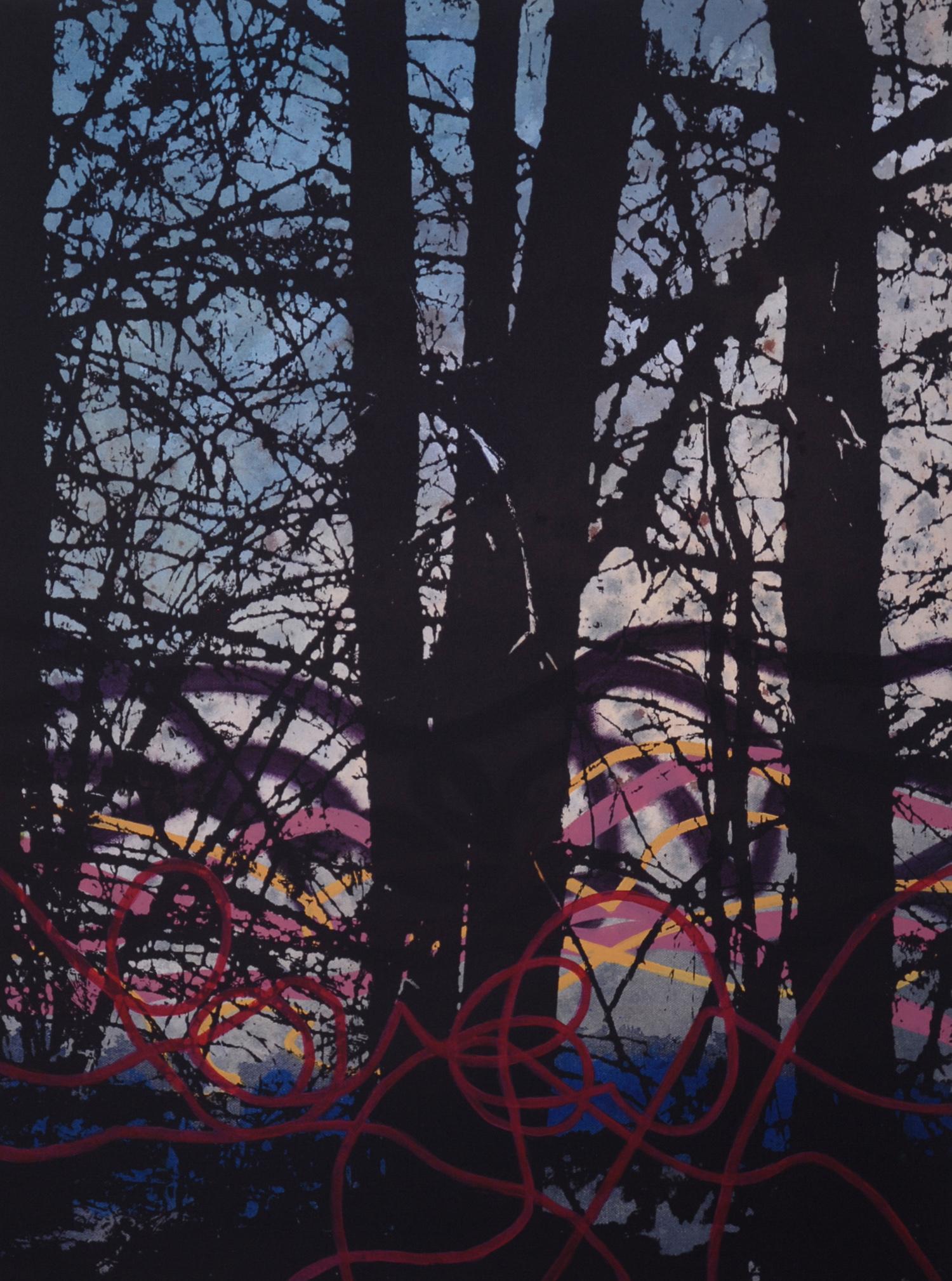 Forêt no 4  techniques mixtes sur toile  61 x 46 cm