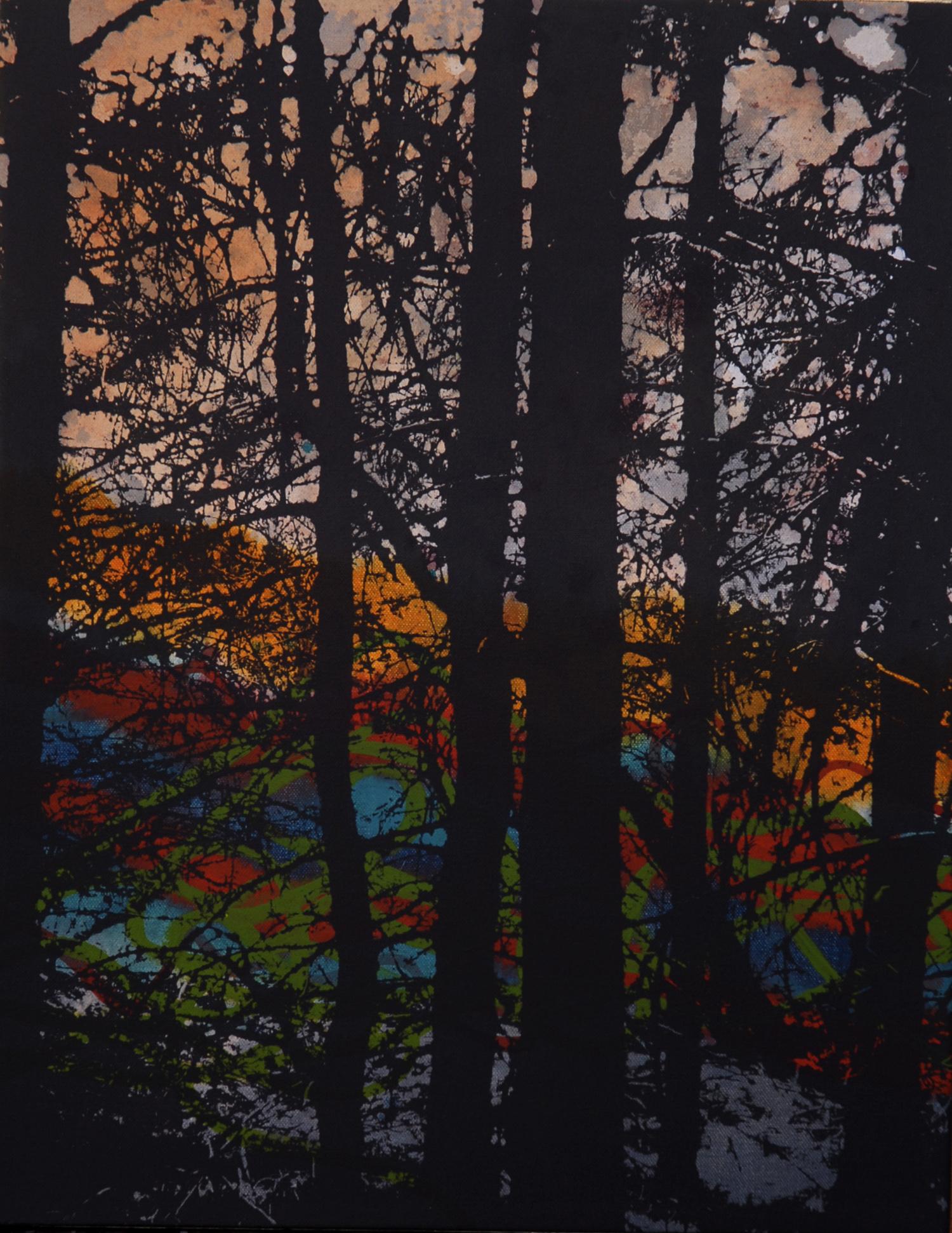Forêt no 5  46 x 36 cm  techniques mixtes sur toile