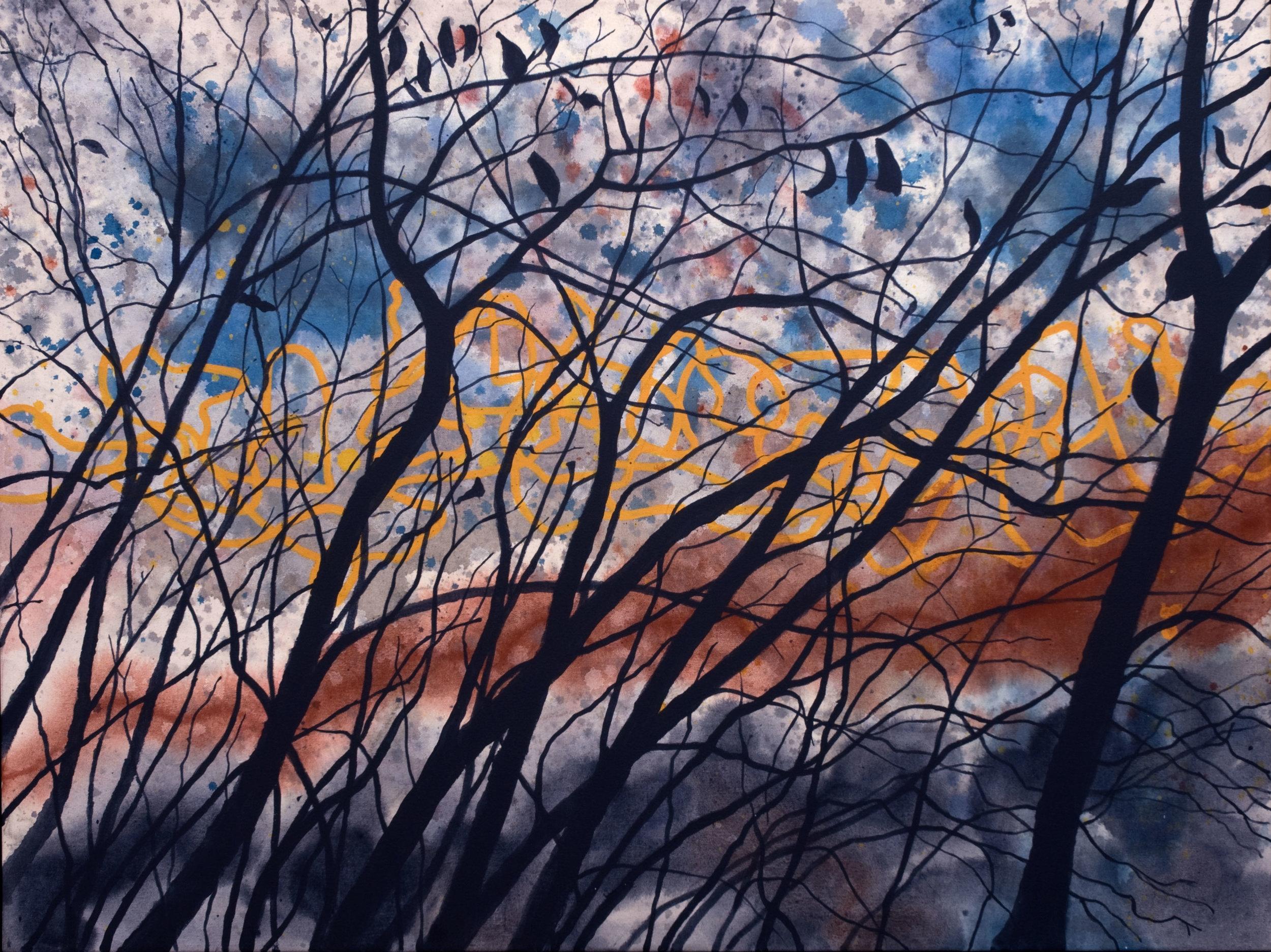 Errance no2  acrylique sur toile 76 x 101 cm