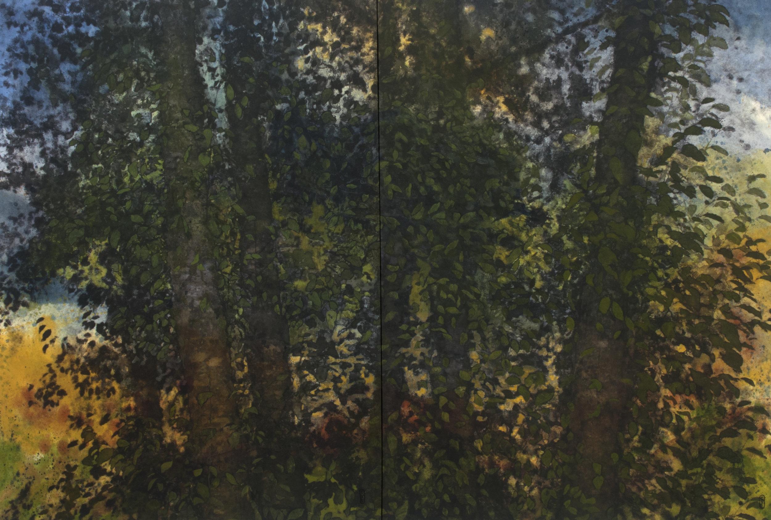 Bosquet (diptyque)  techniques mixtes sur toile   122 x 182 cm 2018