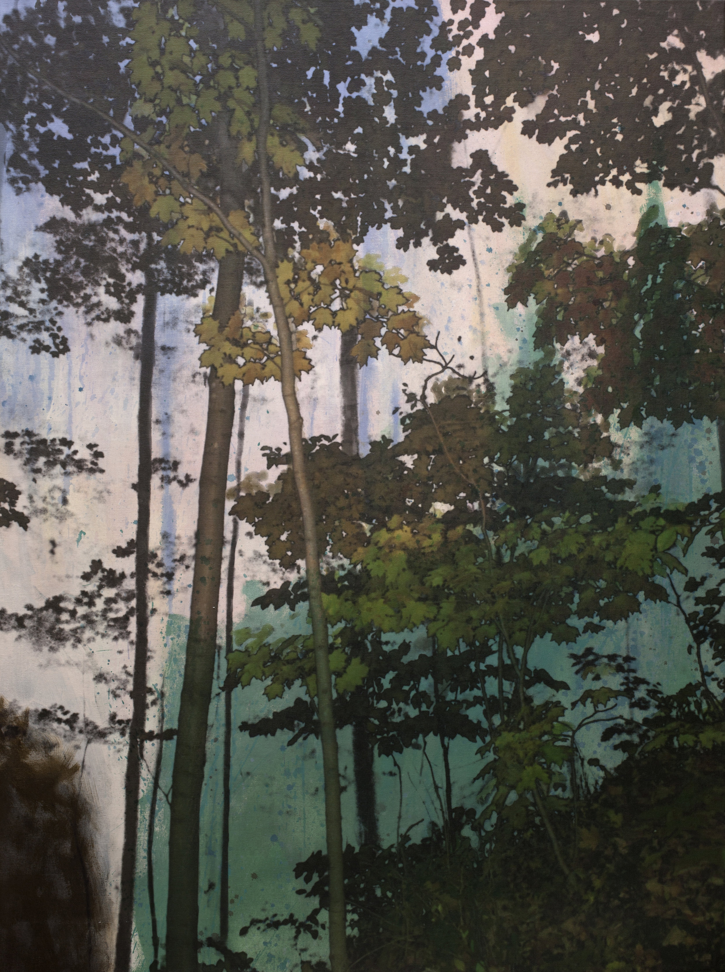 Érablière no 2  techniques mixtes sur toile  108 x 80 cm   2018