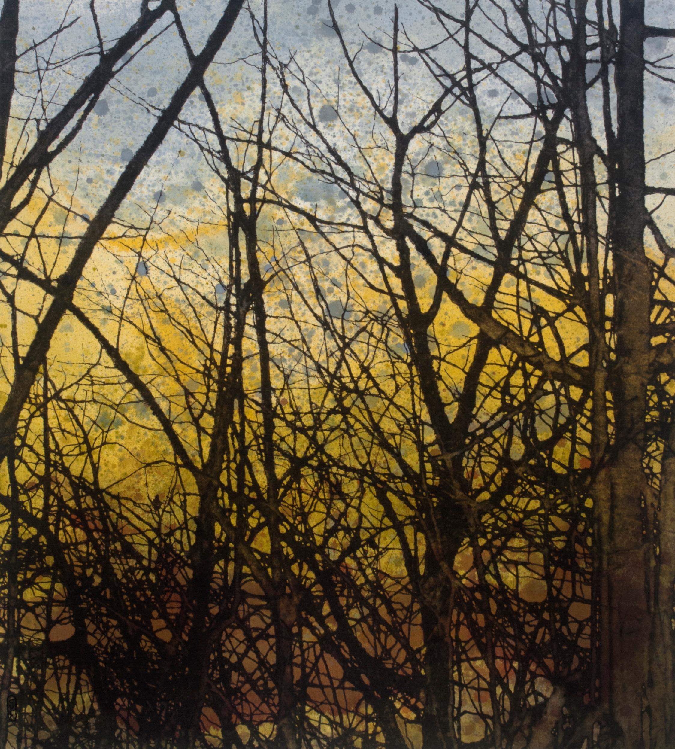 À travers les branches  techniques mixtes sur toile  101 x 91 cm 2018