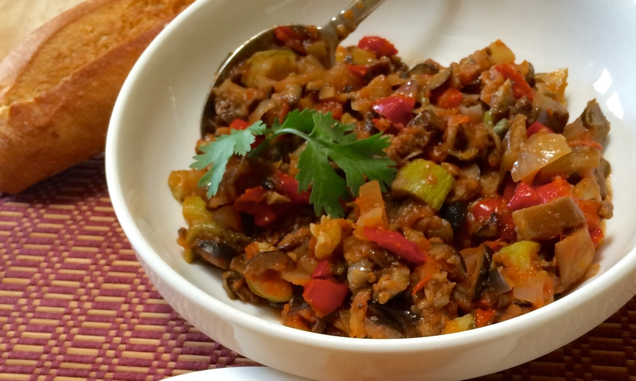 Caponata  is a famous Sicilian dish, a distant cousin of the French Provence's Ratatouille.