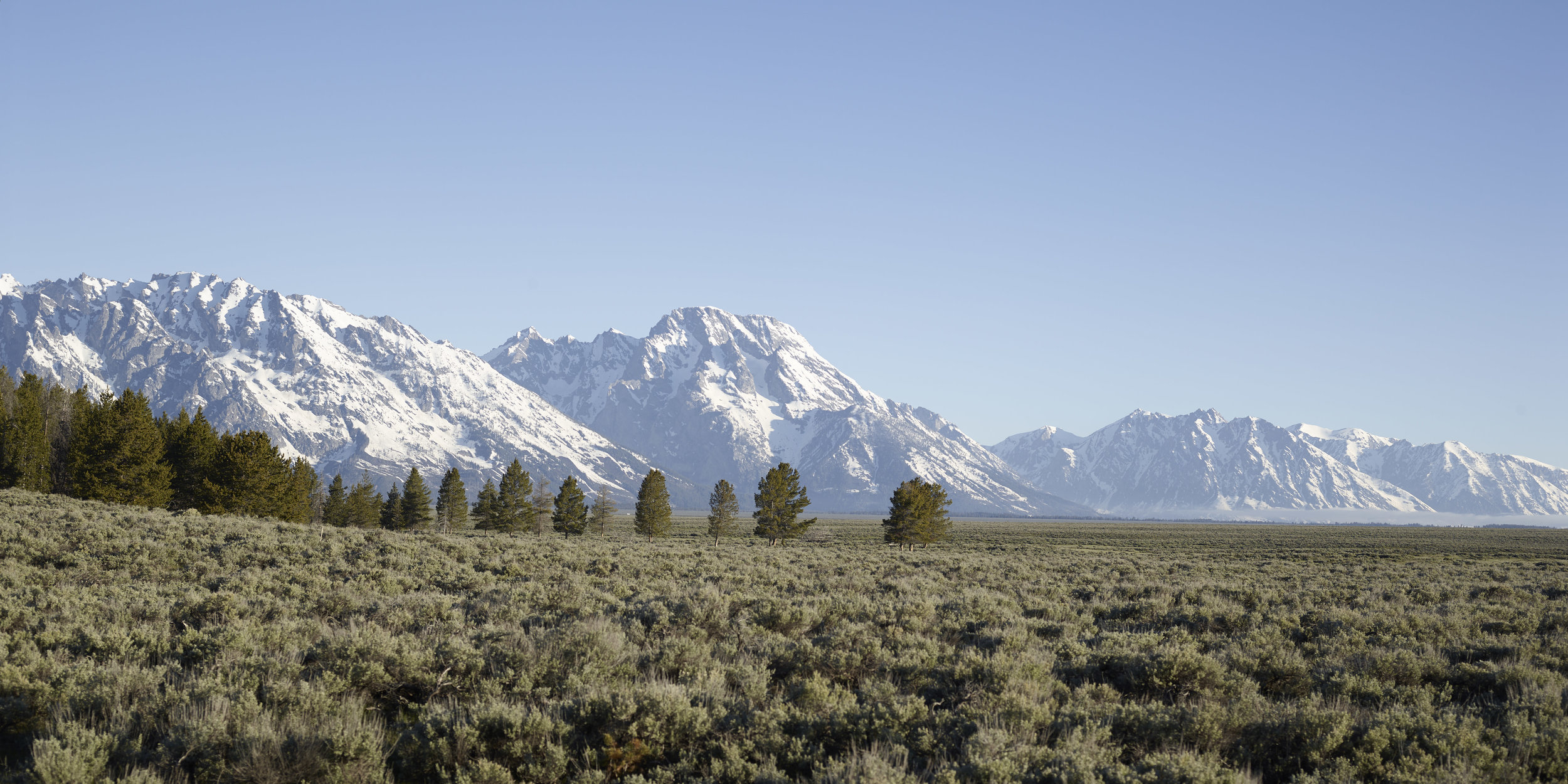 The sun is perpendicular to the lens and low in the sky as it lights the Teton Range. This image needs a polarizer.