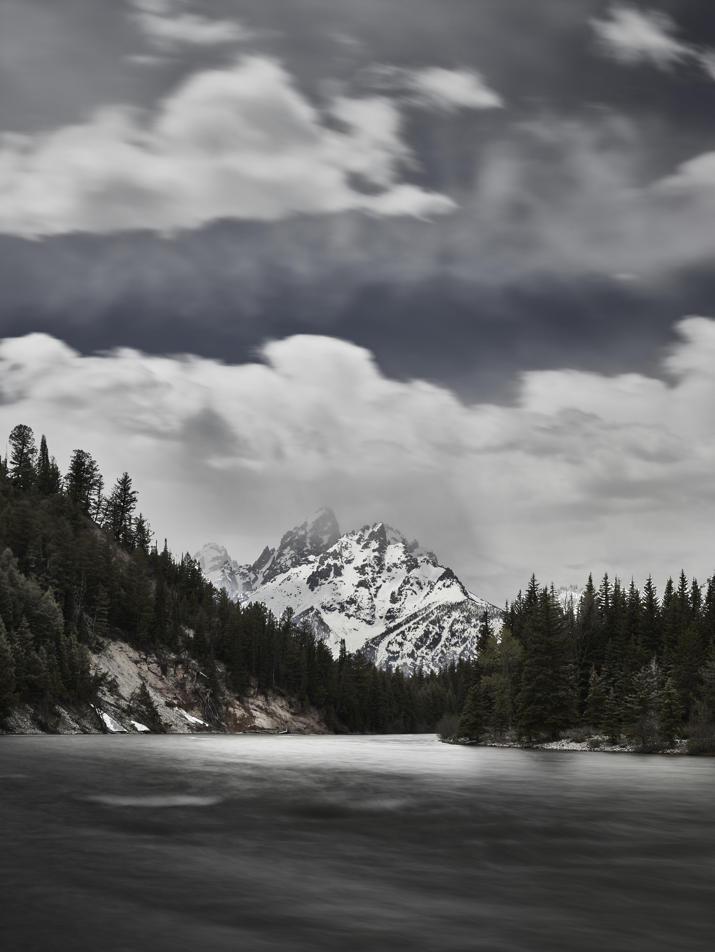 With 10 stops of ND, this 8 second exposure has desirable movement in both the Snake River and in the clouds over the Grand Teton.