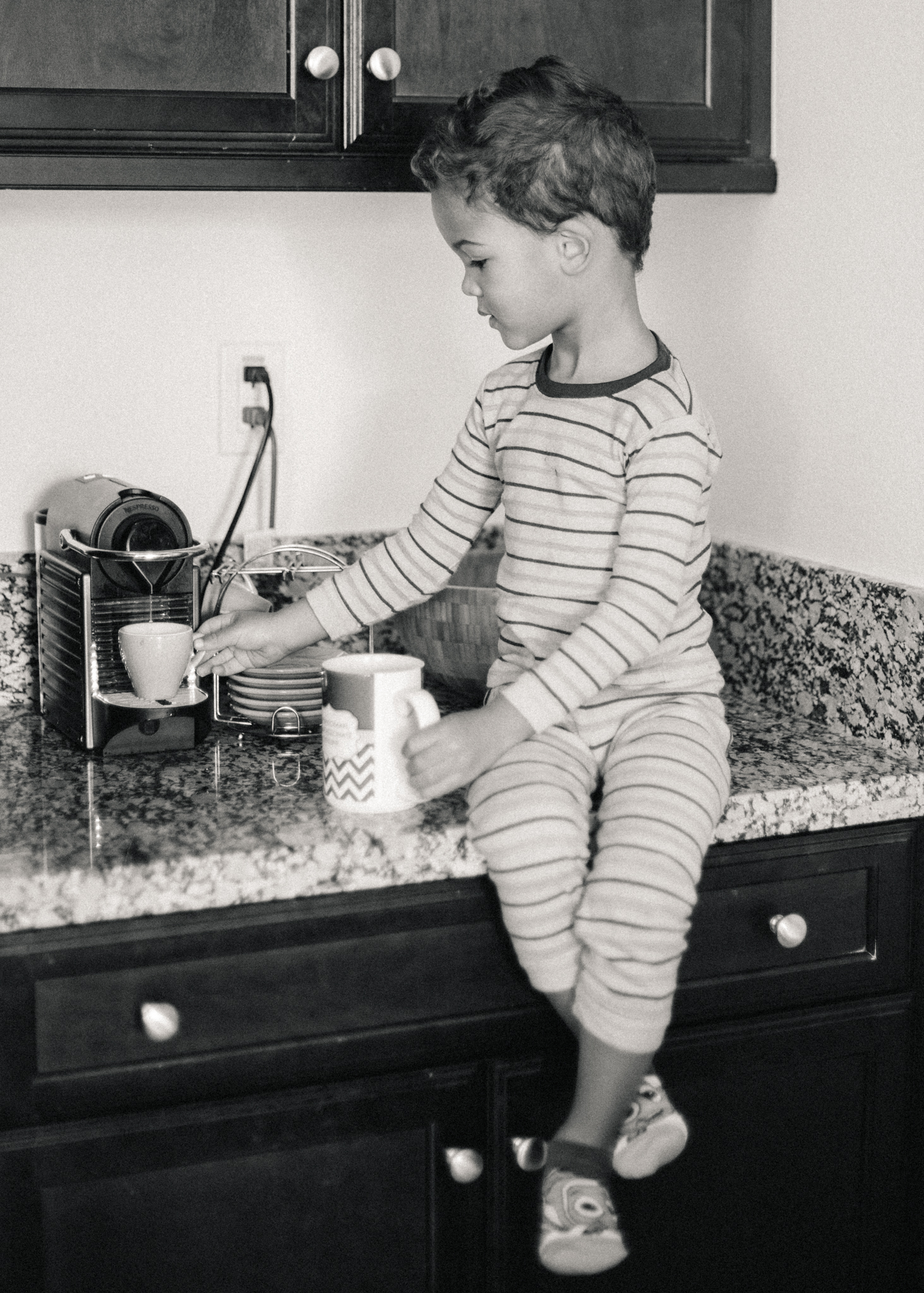 Carson making coffee for Mom